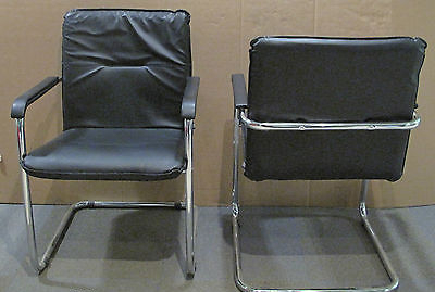 2 x sorrento black leather faced meeting chair on chrome Home Office Furniture Computer Desk Home Office Desks
